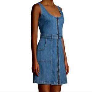 NWT 7 For All Mankind Denim Zip Front Mini Dress